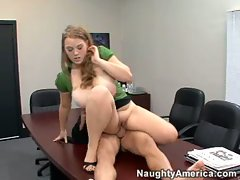 Busty bitch Sierra Skye gets her tight pink snatch plowed at the office