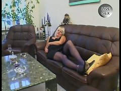 Horny blonde milf fucked in the living room