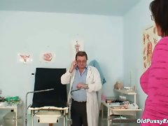 Horny grandpa doctor examining granny's old pussy