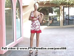 Danica tempting light-haired slutty girl at a table outside a diner