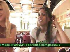 Lilah tempting redhead lassie with her friend in a diner