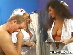 Two chesty Mum nurses get bushy snatch part1