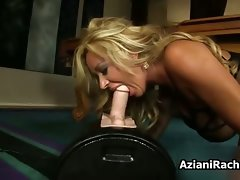 Chesty blond cutie rides a fake penis with her part2